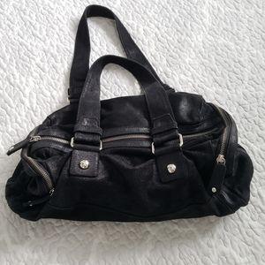 CALVIN KLEIN black metallic large duffel purse bag